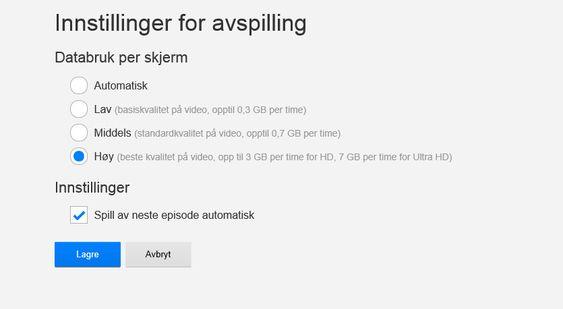 Gi Netflix beskjed om hvilken strømmekvalitet du ønsker.