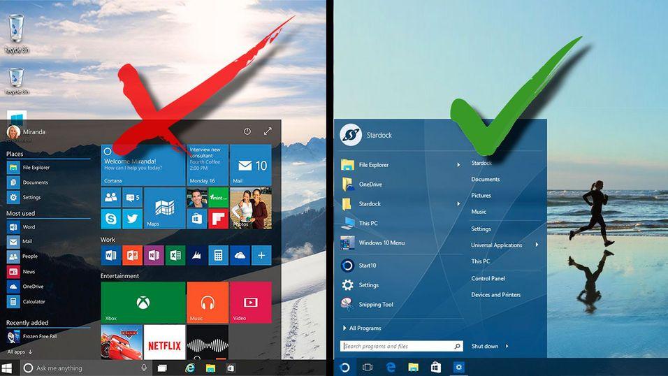 Den vanlige startmenyen til Windows 10 ser du til venstre, mens start10-menyen er til høyre.