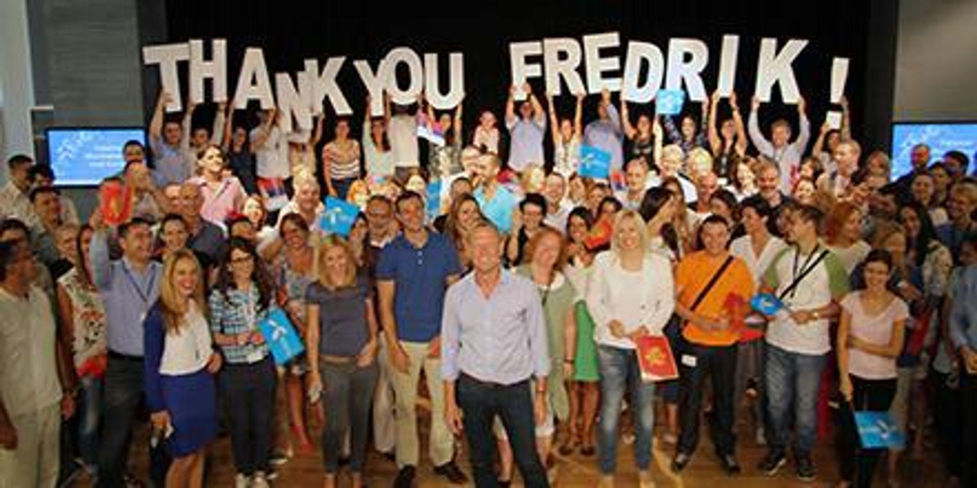 De Telenor-ansatte takket av Jon Fredrik Baksaas etter 13 år i selskapet.
