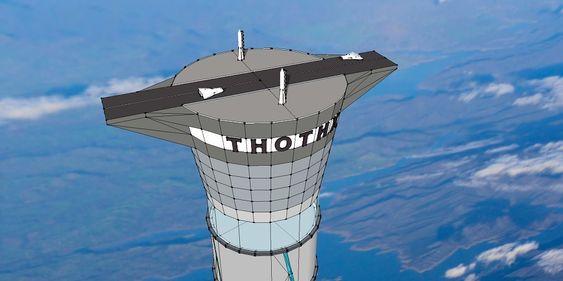 Rullebane for romskip, på toppen av tårnet. .