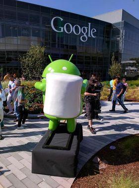 Android-roboten som symboliserer Android 6.0 Marshmallow står allerede på utstilling hos Google.