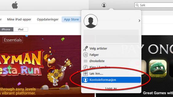 Finn kontoinnstillingene dine i iTunes.