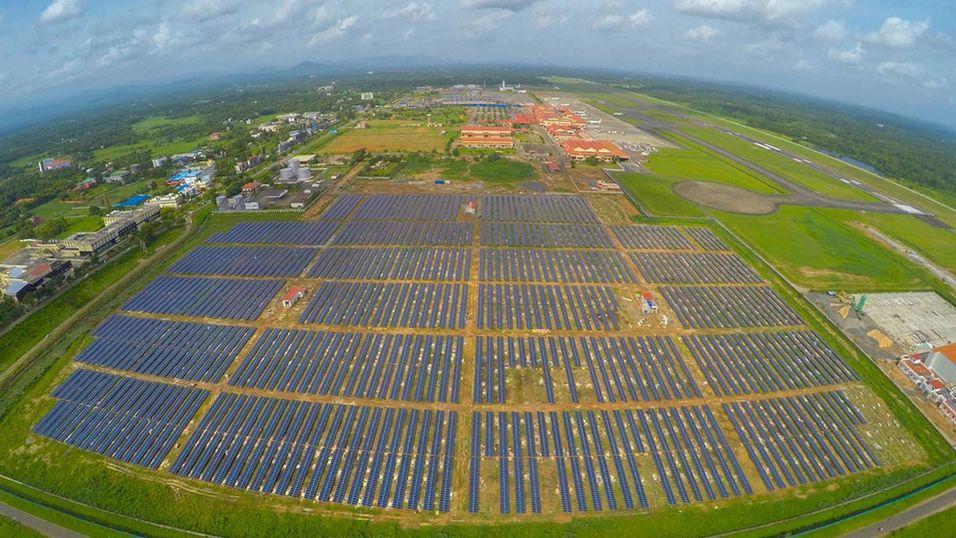 Dette er solcelleanlegget i Cochin, bestående av  46 150 individuelle solcellepaneler.