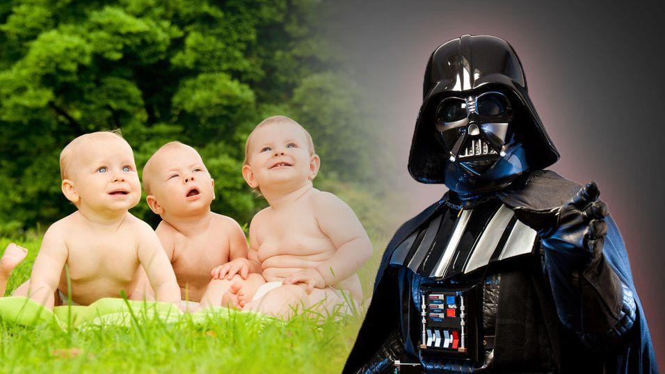«La oss håpe de vokser opp som mørke fyrster og kan herske over alle galaksens innbyggere!»