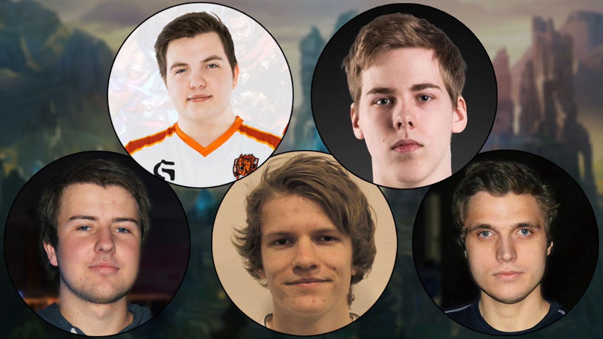 Fra venstre: Simon «Slemp» Ellefsen, Adrian «Dipzey» Kjellesvik, Sondre «Tivity» Afdal, Isak «Energy» Fjell og Sebastian «Boffen» Gsell.