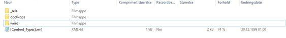 Slik ser den nye «.zip»-filen ut inni. Det du vil ha ligger i Word/Media-mappen.