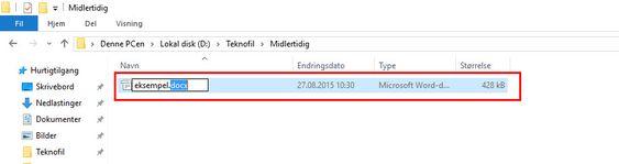 Høyreklikk på filen i filutforskeren, velg «gi nytt navn», og endre denne biten fra .docx til .zip. Ser du ikke .docx-tekst-endingen? Les videre.