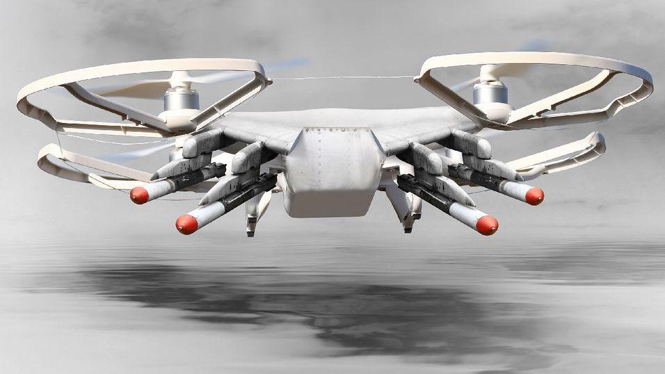 Heldigvis vil dronene bare kunne utstyres med «ikke dødelige» våpen, og ikke raketter. (Illustrasjon)