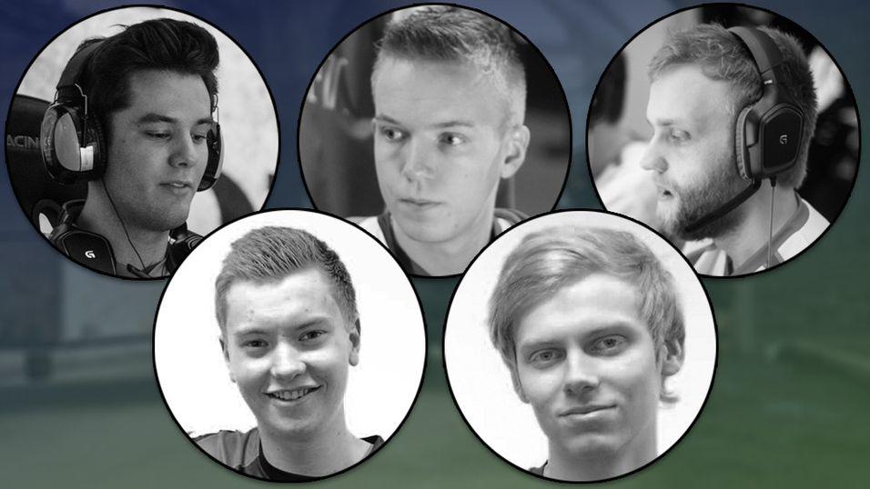 Counter-Strike-laget til Oslo Lions fra venstre: Thomas «Base» Finnøy, Henrik «Neto» Kristengård, Mikael «Ultra» Andersen, Viktor «Cyph» og Eirik «spity» Hauger.