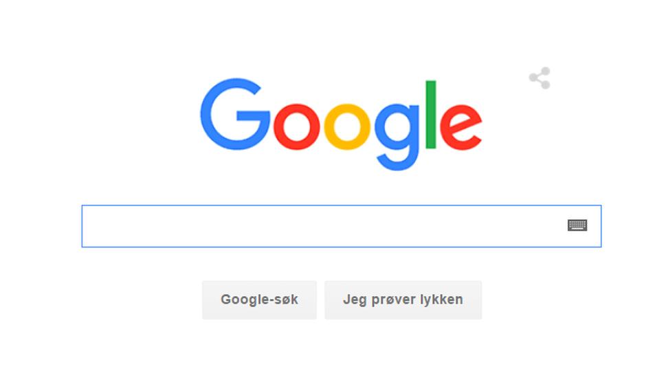 Dette  er den nye søkeskjermen til Google, med ny, renere logo.