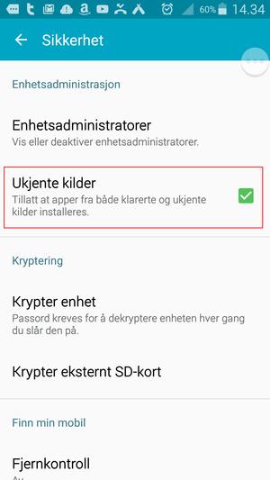 Her kan du sørge for at man ikke uten videre kan installere uoffisielle apper.