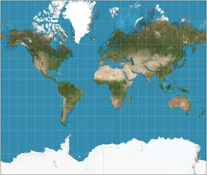 Mercator-projeksjon – hver rute er like stor i virkeligheten.