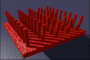 Illustrasjonsbilde av nanostrukturen i solcellene.