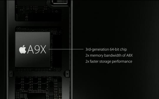 På innsiden finner du en A9X-prosessor. «Desktop class performance», ifølge Apple selv.