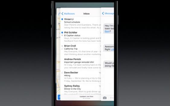 Man kan bytte mellom apper ved å trykke hardt på siden av skjermen, og dra fingeren over mot den andre siden.