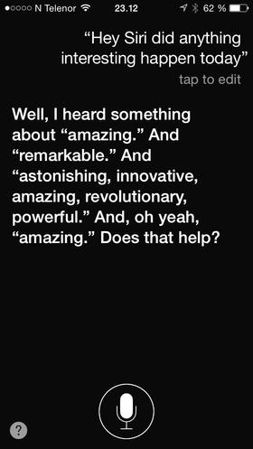 i kjent stil manglet det ikke på superlativer under Apples lansering, noe Siri tydeligvis har fått med seg.