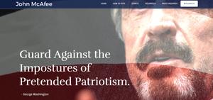 Slik ser McAfees nye presidentkandidat-nettside ut.