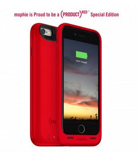 Mophie Juice Pack Air fåes i 8 forskjellige farger, deriblant denne røde Apple-fargen, som går til inntekt for kreftbekjempelse.