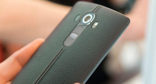 LG G4 kan fåes med bakside i ekte skinn.