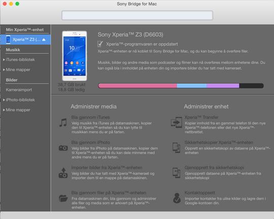 Sony har laget en egen Sony Bridge for Mac, som gjør det enkelt å sikkerhetskopiere data.