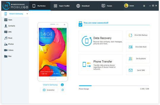 Slik ser MobileGo sitt grensesnitt ut. Enkelt og greit, her er det lite som kan forvirre.