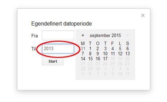 Skriver du inn 2013 her, får du alle resultater til og med 31. desember 2013.