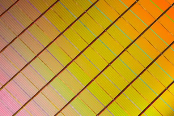 Nærbilde av en Xpoint-wafer.