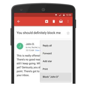 Slik vil blokkeringsfunksjonen se ut på Android.