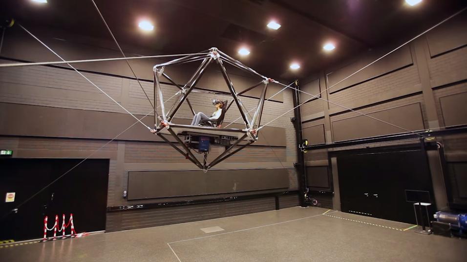 «Kabelroboten» er i stand til å bevege brukeren fritt omkring, men krever naturlig nok en del plass.