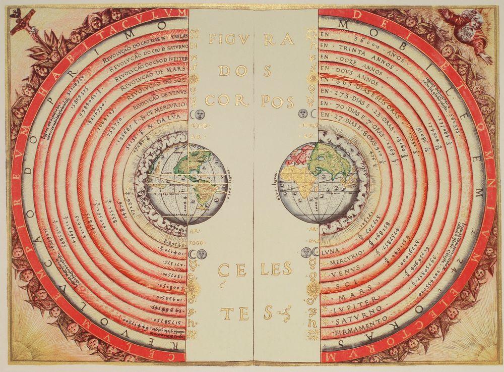 Denne illustrasjonen viser hvordan kosmograf og kartograf Bartolomeu Velho så for seg verdensrommet i 1568. Det er interessant å se avstandene – og at man trodde Solen lå et sted mellom Venus og Mars. Firmamento refererer til himmelhvelvingen, som man antok var solid.