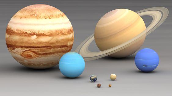 I 1846 ble Neptun oppdaget. Dermed hadde man funnet alle de åtte planetene i solsystemet, her vist i riktig størrelsesskala. Fra størst til minst: Jupiter, Saturn, Neptun, Uranus, Jorden, Mars, Venus og Merkur. Sistnevnte er mindre enn to av Jupiters måner, men samtidig mer massiv.