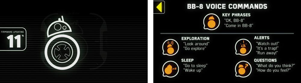 Noe av det første som skjedde da vi startet BB-8 første gang var at den ville oppdatere programvaren. Det er forresten støtte for talestyring i appen. Den virker noenlunde greit men har fortsatt ikke så mange funksjoner å vise til.