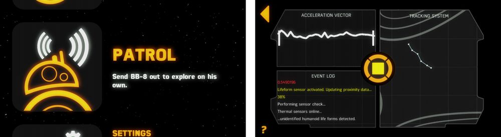 Du kan sende BB-8 ut på patrulje på egen hånd. Vår BB-8 ser ut til å være litt dum, så den bruker sjelden mange sekundene på å finne seg kollisjonsverdig inventar.