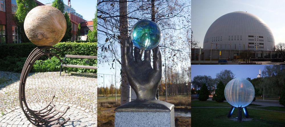 Noen av markeringene i Sweden Solar System. Fra venstre: Venus, Sedna, Solen og Neptun.