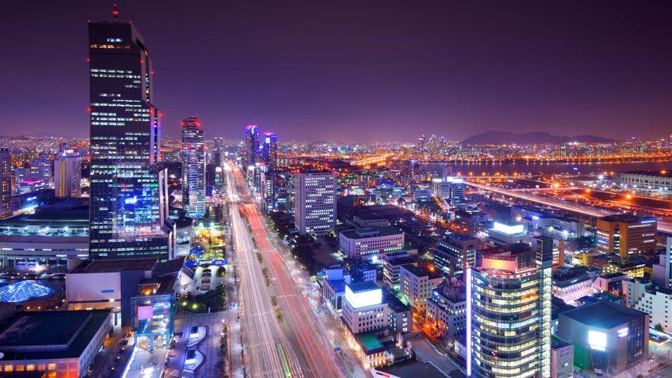 Sør-Korea har verdens høyeste, gjennomsnittlige Internett-hastighet. Dette er hovedstaden Seoul.
