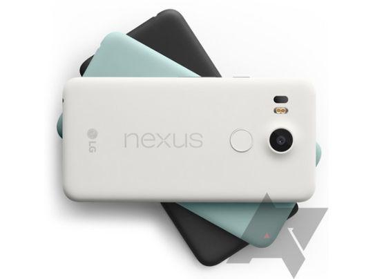 Nexus 5X skal komme i tre farger: hvit, blågrønn og svart.