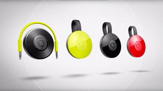 den nye Chromecast-familien, med Chromecast Audio til venstre.