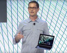 Googles produktsjef, Andrew Bowers, presenterer Pixel C.
