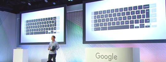 Et helt nytt tastaturkonsept skal få liv i Pixel C – her er noen av tastene flyttet inn på skjermen for å slanke den fysiske størrelsen.