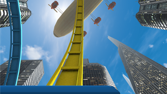 Berg-og-dalbaner fungerer godt med VR, siden man er spent fast i spillet.