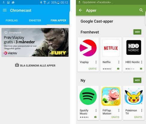 En egen oversikt skal hjelpe deg til å finne frem til apper som støtter Chromecast.