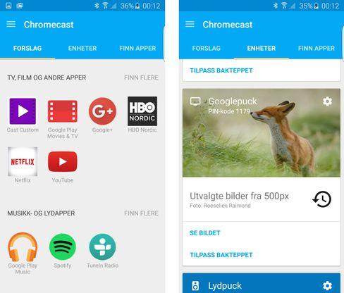 Den nye Chromecast-appen er lett å bruke, men har betydelig mindre funksjonalitet her til lands enn i USA.
