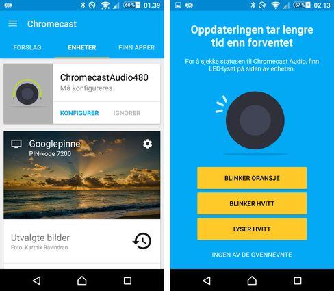 Googles Chromecast-app tar seg greit av første gangs oppsett. Chromecast Audio har imidlertid ingen skjerm å hjelpe seg med, så kommunikasjonen når noe går galt kan være kryptisk.