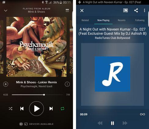 Spotify og TuneIn Radio er to av de mer populære appene som støtter Chromecast Audio.
