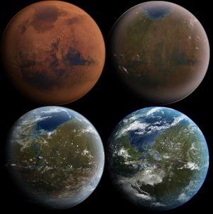 En teoretisk forvandling fra ubeboelig ørken til levende planet.