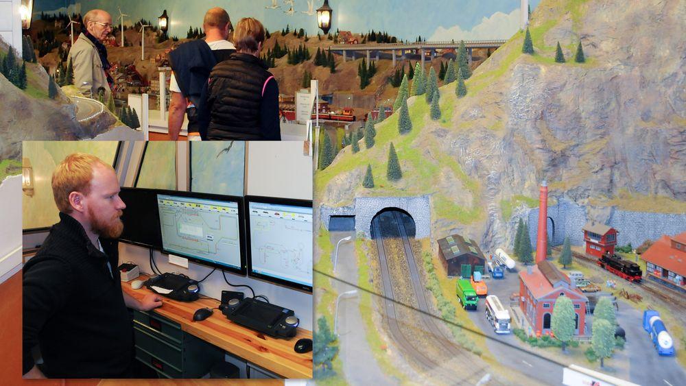 Gamlebyen Modelljernbanesenter er Skandinavias største. Jonas Jacobsen sitter bak spakene.