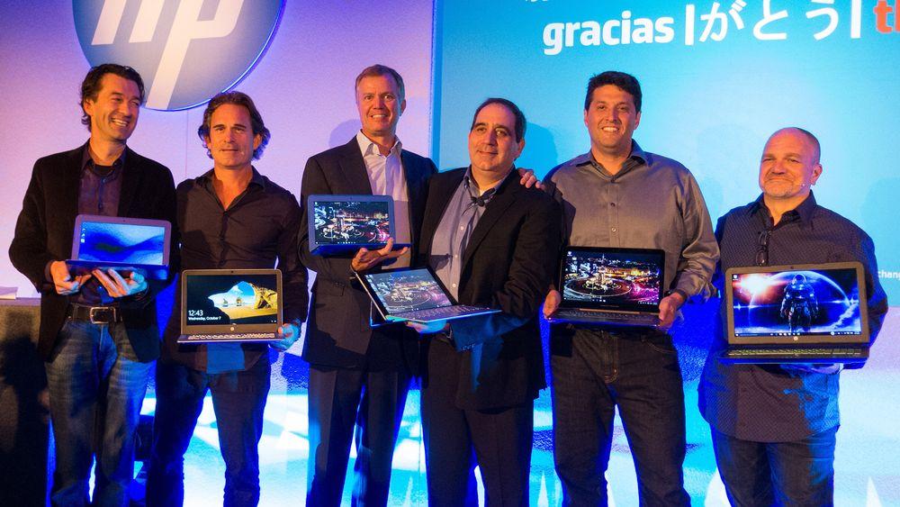 Det var en lang rekke fornøyde HP-sjefer som avduket selskapets nye produktlineup i Barcelona. Til Høyre i bildet er designsjef Stacy Wolf.