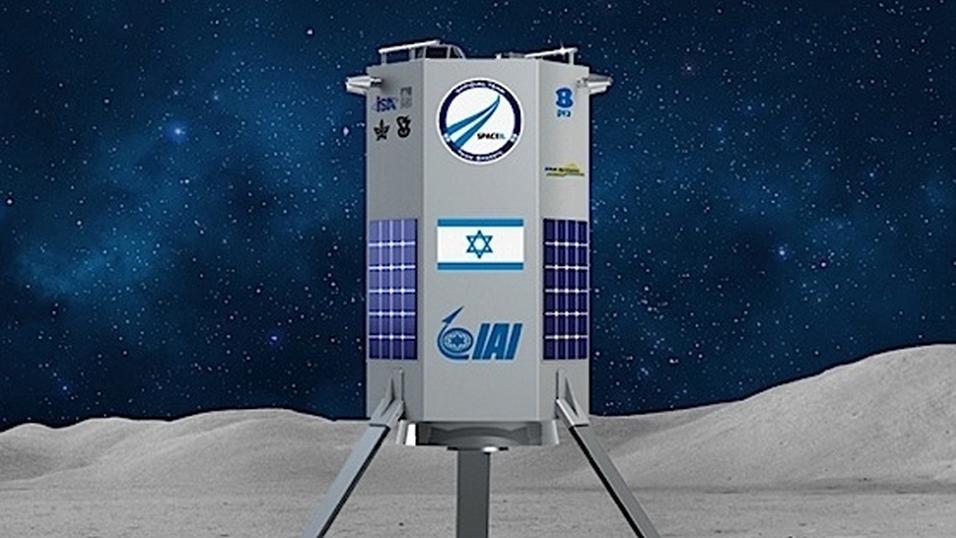 Konseptbilde av SpaceIL sitt romfartøy, som kan bli det første private i sitt slag på Månen.
