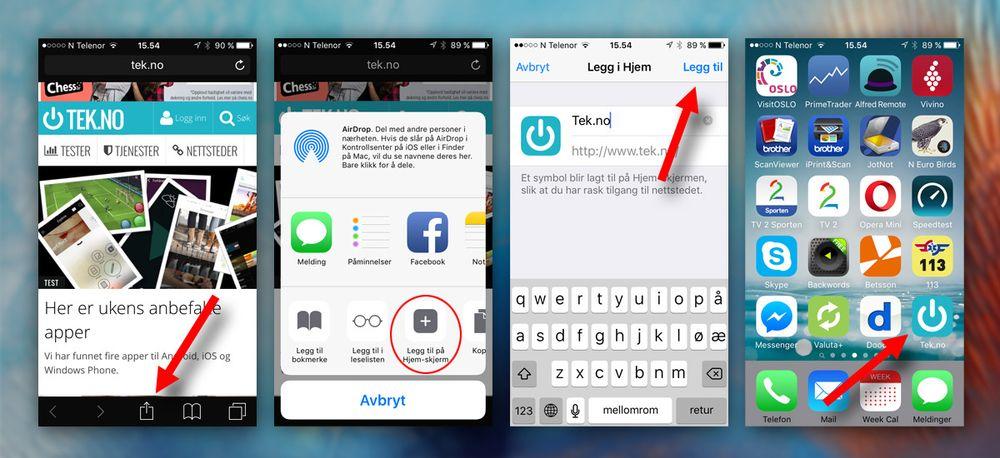 Safari er eneste alternativ for iOS-brukere på snarveisfronten, men heldigvis fungerer det hele bra. At du må bruke «Del»-knappen og deretter sveipe for å finne funksjonen virker imidlertid i overkant komplisert.