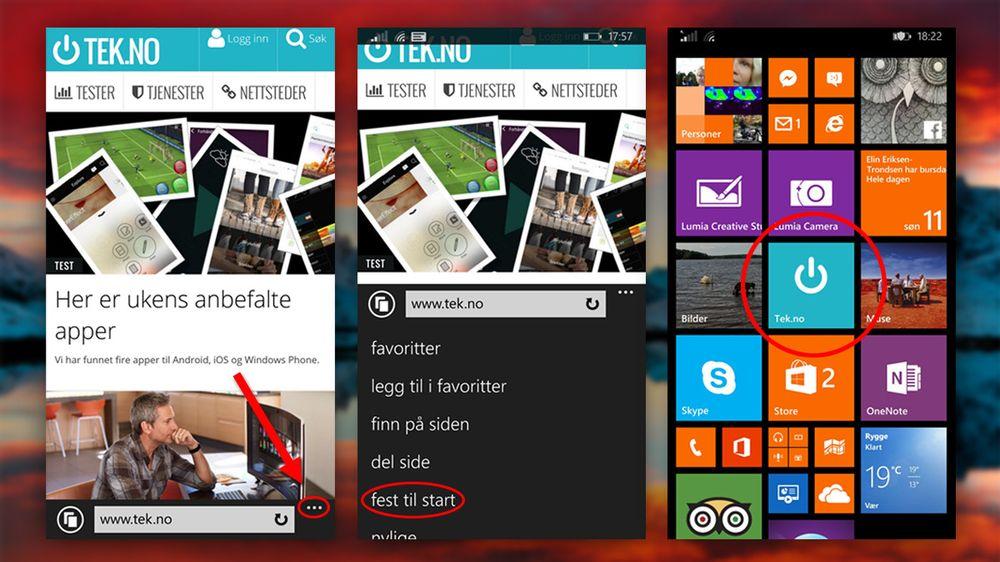 Windows Phone har det enkleste oppsettet, men til gjengjeld må du bruke Internet Explorer og får ikke lov til å velge navn på snarveien.